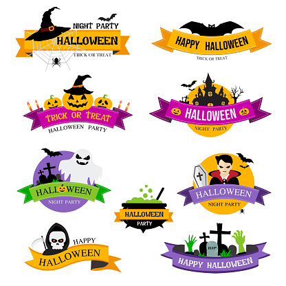 Set of Halloween badges and labels on white background.vector illustration