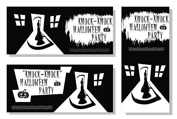 set of halloween banner. scary death with scythe - türposter stock-grafiken, -clipart, -cartoons und -symbole