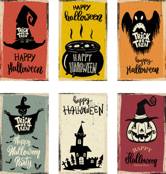 set of halloween banner templates. monster characters. - halloween stock illustrations, clip art, cartoons, & icons