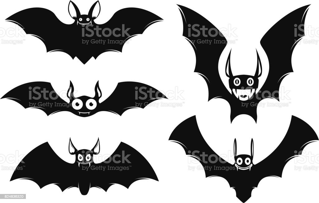 Set Von Halloween Fledermaus Icons Monsterfledermäuse ...