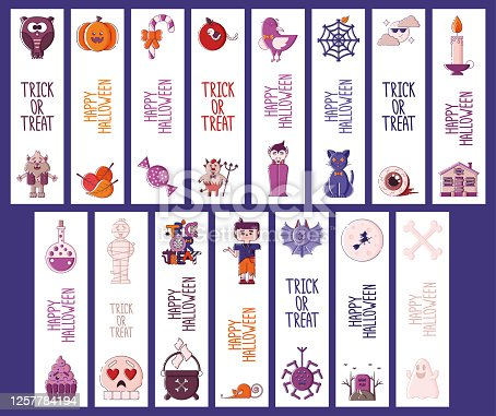 istock Set of Halloween bookmarks. 1257784194