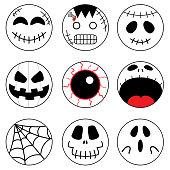 Set of halloween bundle, round emoji, icon, clipart, halloween head