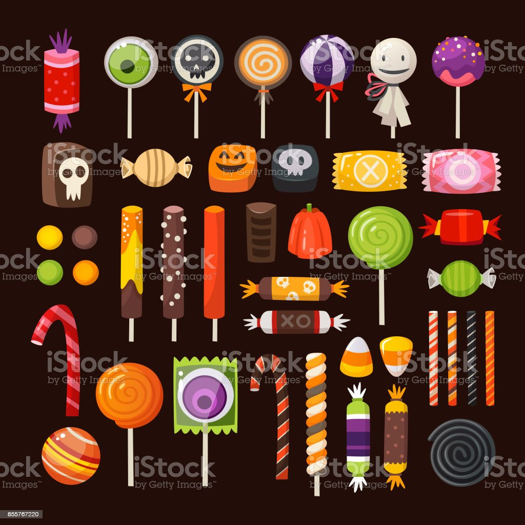 Set of Halloween candies vector art illustration