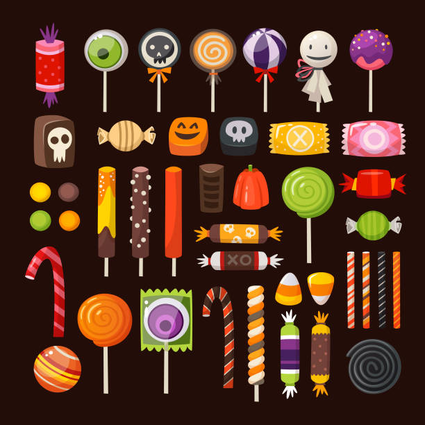 set of halloween candies - halloween stock illustrations, clip art, cartoons, & icons