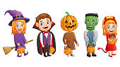 Vector illustration of Set halloween cartoon costumes children holding pumpkin