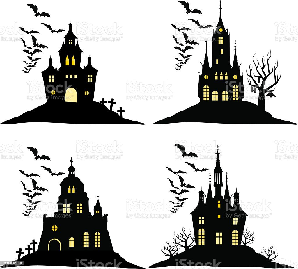 Set Of Halloween Castle With Bats Black Silhouette On Hill stock ...