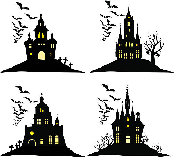 Set of halloween castle with bats black silhouette on  hill. vector art illustration