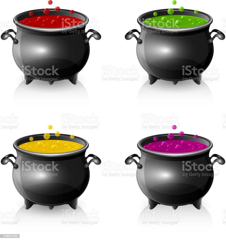 Set of Halloween cauldrons vector art illustration