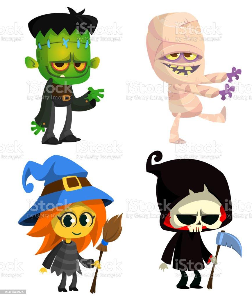 Set Of Halloween Characters Vector Cartoon Zombie Mummy ...