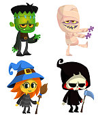 Set of Halloween characters. Vector cartoon zombie, mummy, witch with a broom, grim reaper with scythe.  Great for party decoration