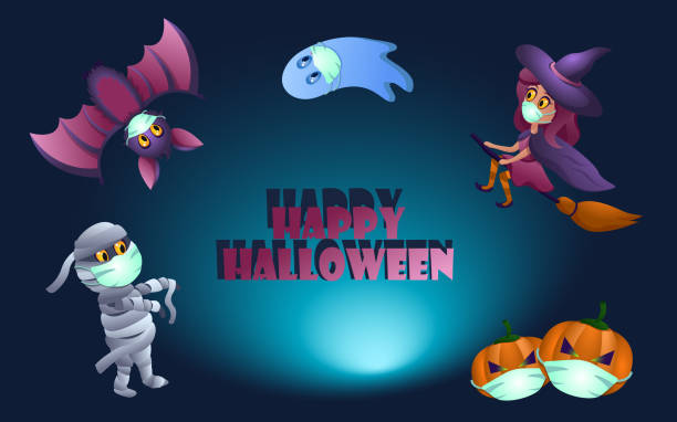Set of halloween characters with masks. Set of halloween characters with masks. Coronavirus happy halloween. halloween covid stock illustrations