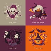 Set of Halloween Concepts. Vector Illustration.