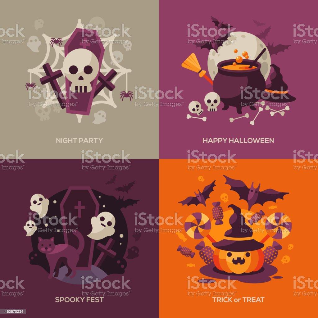 Set of Halloween Concepts. Vector Illustration. vector art illustration