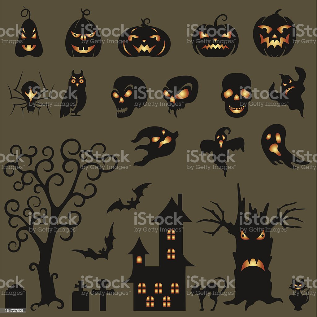 Set Of Halloween Design Elements royalty-free set of halloween design elements stock vector art & more images of animal bone