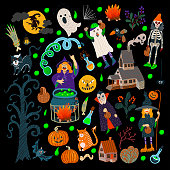 Set of Halloween elements such as monster, pumpkin, dracula, cat, house and other. Vector cartoon flat illustration