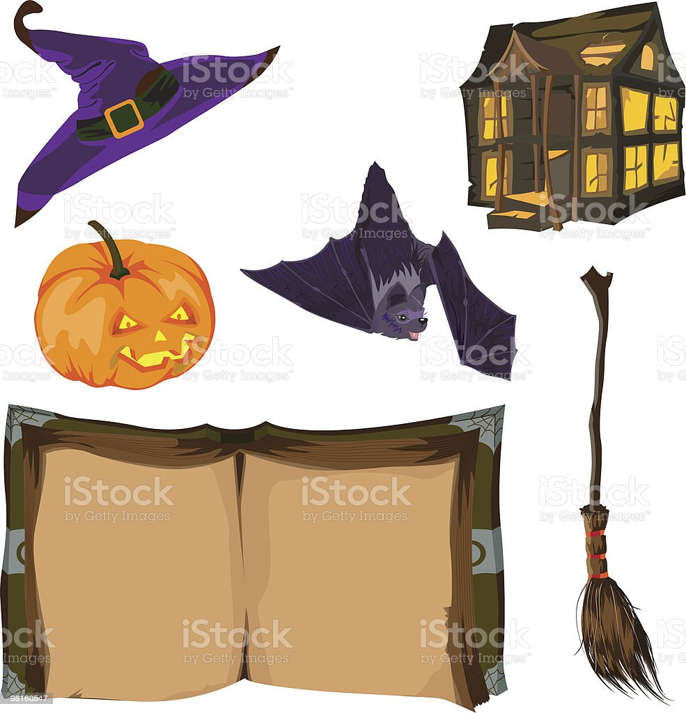 Set of Halloween elements. royalty-free set of halloween elements stock vector art & more images of bat - animal
