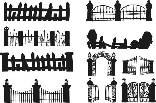 stockillustraties, clipart, cartoons en iconen met set voor halloween fence - kerkhof