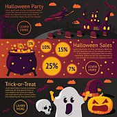 Set of halloween flat banners - Halloween party, Sale, Trick