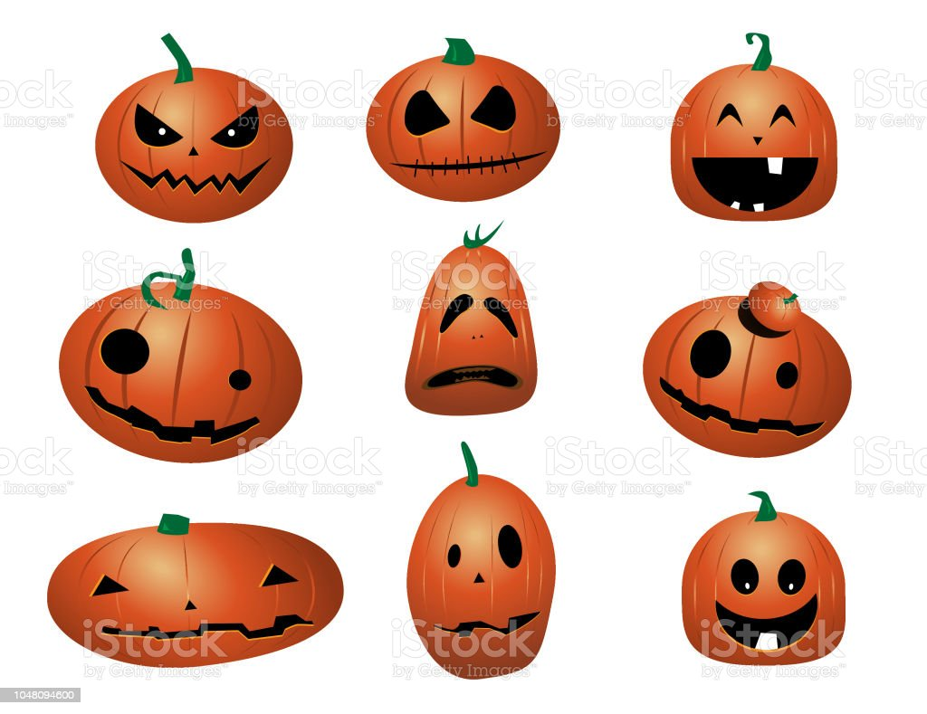 Set Of Halloween Funny Pumpkins Cartoon Stock Illustration
