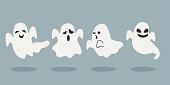 istock Set of halloween ghosts  vector illustration 1257384972