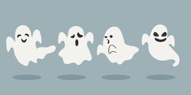 zestaw halloweenowych duchów ilustracji wektorowej - upiorny stock illustrations