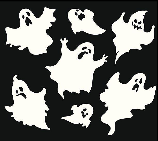 Set of halloween  ghosts1 Set of halloween  ghosts for design isolated on background, such logos. ghost icon stock illustrations