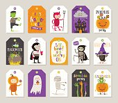 Set of Halloween gift tags and labels with cartoon characters, greetings, holiday sign and symbol. Vector illustration.