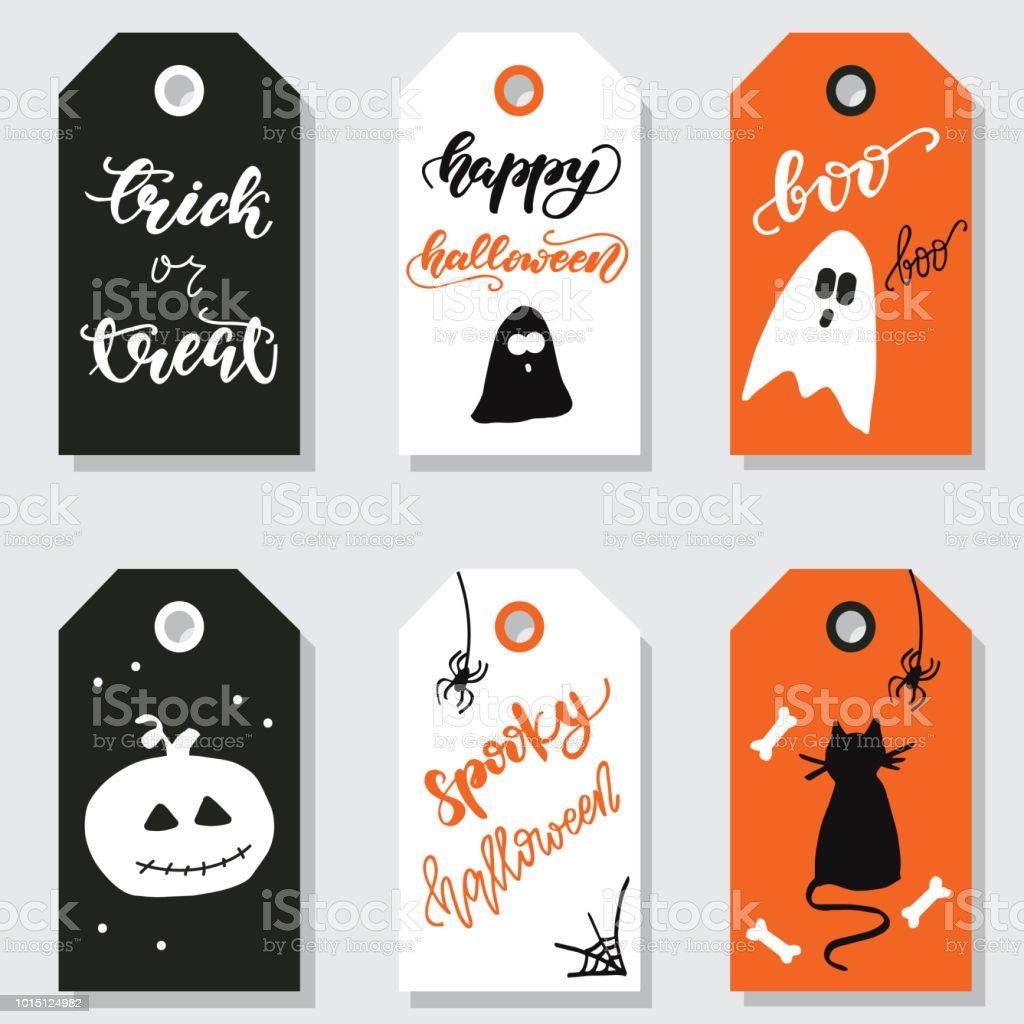 Halloween Gift Tags.Set Of Halloween Gift Tags Vector Illustration Stock Vector Art