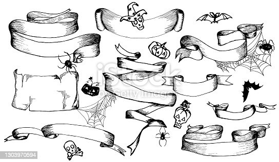 istock set of Halloween hand drawn banners, ribbons, elements for decoration greeting cards or invitation. Hand drawn sketches for your design of poster, cards, invitations, cover template of greeting card 1303970594