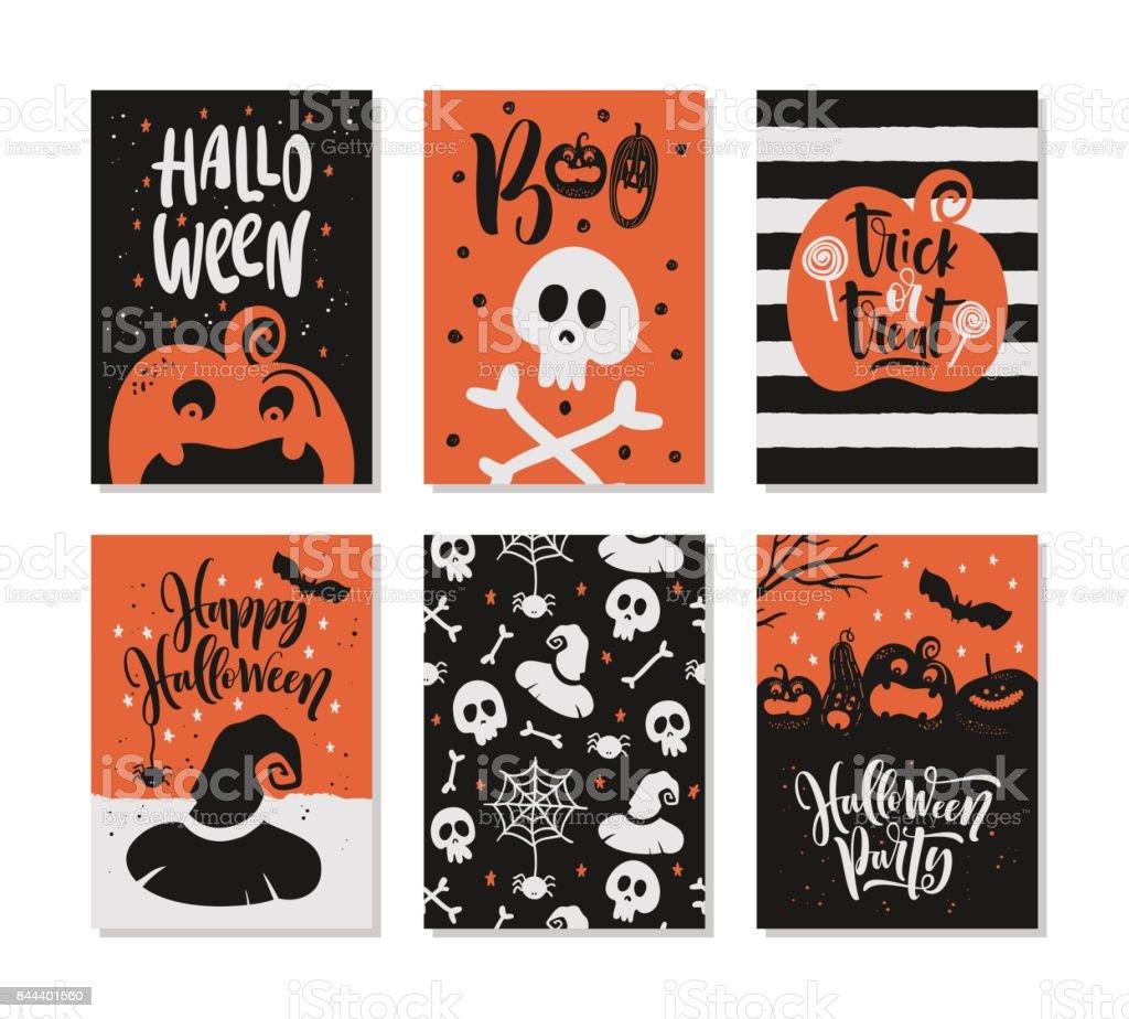 Conjunto de tarjeta de felicitación de Halloween dibujado a mano con citas de caligrafía, palabras y frases. - ilustración de arte vectorial