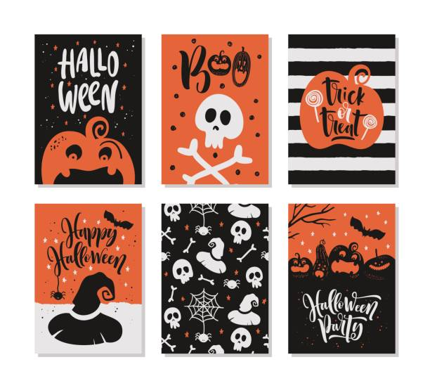 Jeu de cartes de voeux Halloween dessinés à la main avec des citations de calligraphie, des mots et des phrases. - Illustration vectorielle
