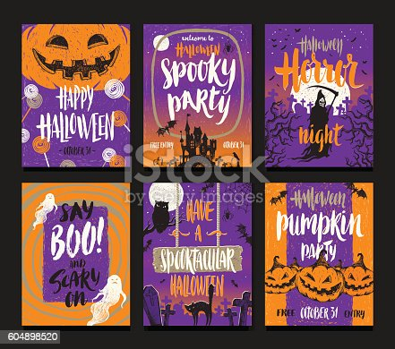 istock Set of Halloween holidays hand drawn posters or greeting card 604898520