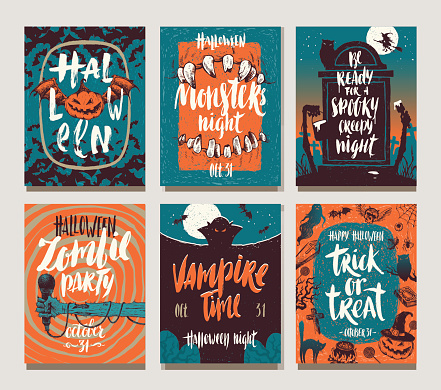 Set of Halloween holidays hand drawn posters or greeting card