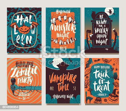 istock Set of Halloween holidays hand drawn posters or greeting card 604898954