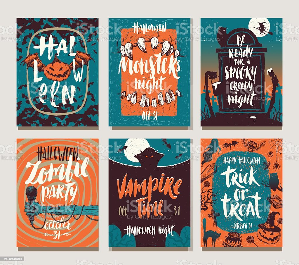 Set of Halloween holidays hand drawn posters or greeting card vector art illustration