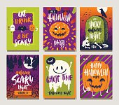Vector illustration. Set of Halloween holidays hand drawn posters or greeting card with handwritten calligraphy quotes, words and phrases.