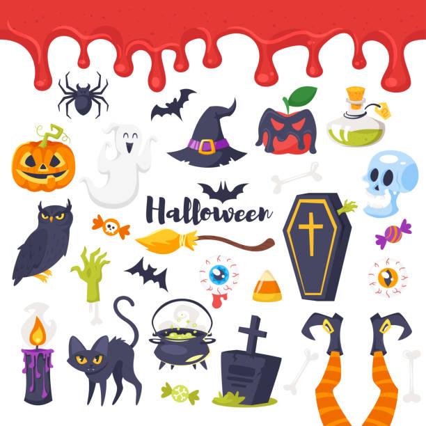 set of Halloween icons Vector cartoon style set of Halloween icons. Isolated on white background. potion stock illustrations
