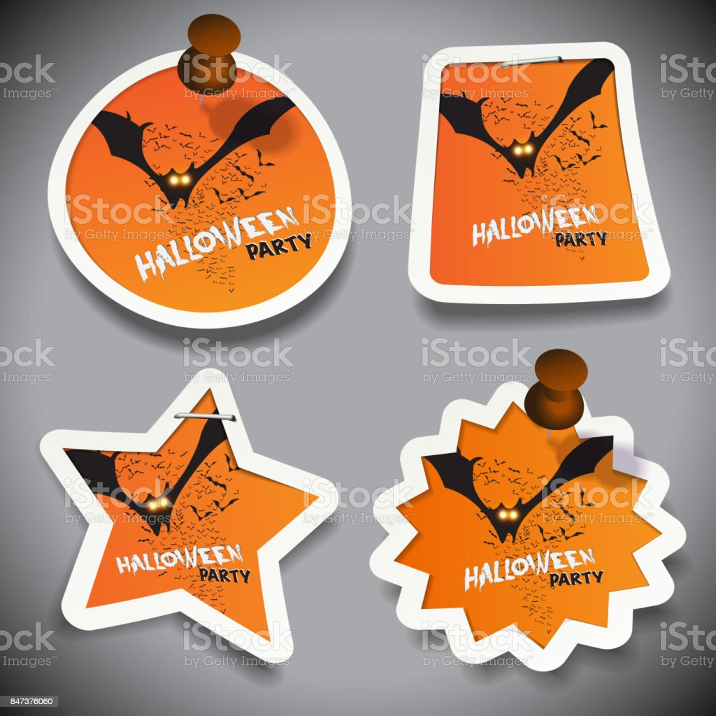 Set of Halloween Paper Cut Tags vector art illustration