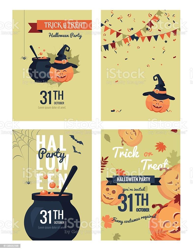 Set of halloween party invitations. vector art illustration