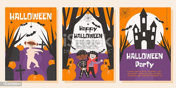 istock Set of Halloween posters, greeting or post cards, banners, background. Dark forest, cemetery, dry trees, buts, big moon, spider, pumpkin and kid's in halloween coustume. Vector flat illustration 1326068944