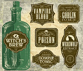 Vector illustration of a set of odd and funny Hallowe'en themed bottle labels. Print and use as wine labels, stickers or package labels or whatever you desire. Imported 100% Pure Goblin Juice, Poision - both round and rectangular labels with skull and cross bones, Premium Quality Eye of Newt Potion, Fine Filtered Werewolf Extract, Original & Pure Witch's Brew, October 31st - All Hallows Eve, Vampire Blood made in Transylvania,