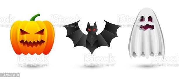 Zestaw Halloweenowych Dyni Nietoperzy I Ikon Duchów Ilustracja Wektorowa Odizolowana Na Białym Tle Dla Happy Halloween - Stockowe grafiki wektorowe i więcej obrazów Abstrakcja