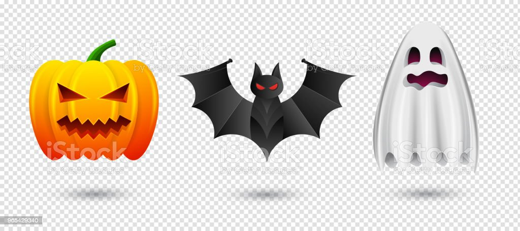 一套萬聖節南瓜, 蝙蝠和幽靈圖示。在透明背景下為萬聖節快樂而分離的向量插圖 - 免版稅全景圖庫向量圖形