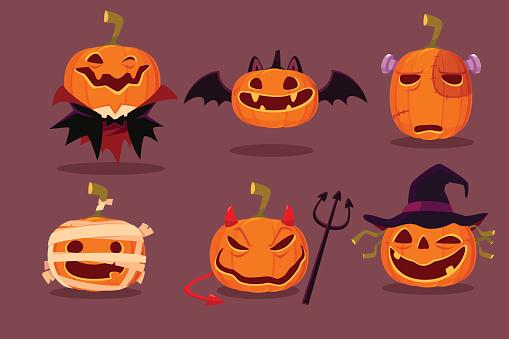set of halloween pumpkins in halloween character costumes