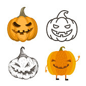 Set of Halloween pumpkins. Jack-o-lantern illustrations in different style.