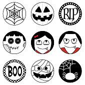 Set of halloween round stickers, circle emoji, icon, clipart, halloween head bundle