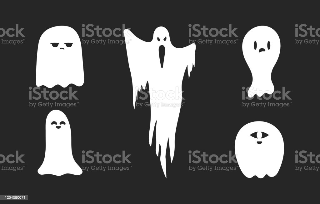 Set Of Halloween Scary And Spooky Ghost Silhouettes Creepy Phantoms Cartoon Boos October Night Party Decoration Stock Illustration Download Image Now Istock