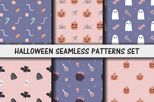 Set of Halloween seamless patterns. Baby background for t-shirt print, packaging, wrapping paper, etc.  Cute pumpkin and smiling ghost, sweets, bat, witch's cauldron. Pastel colors.