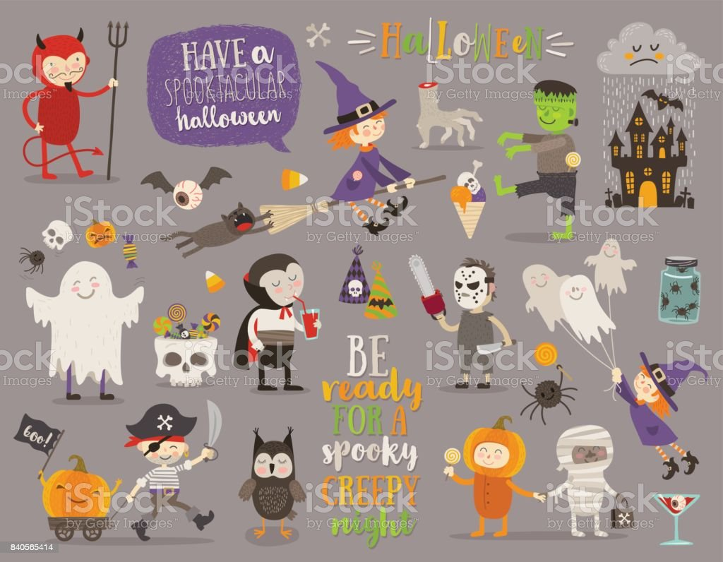 Set of halloween sign, symbol, objects, items and cartoon characters vector art illustration