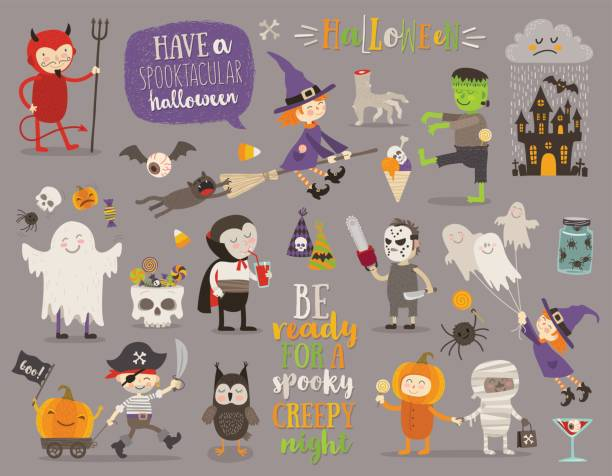 set of halloween sign, symbol, objects, items and cartoon characters - frankenstein stock illustrations